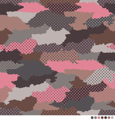 Abstract camouflage pattern with dot background