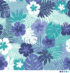 Tropical pattern with hibiscus flowers and botanical leaves background