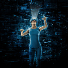 Virtual reality woman / 3D illustration of woman wearing virtual reality glasses surrounded by virtual data