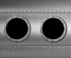 Wall Mural - two metal submarine or spaceship porthole windows 3d illustration