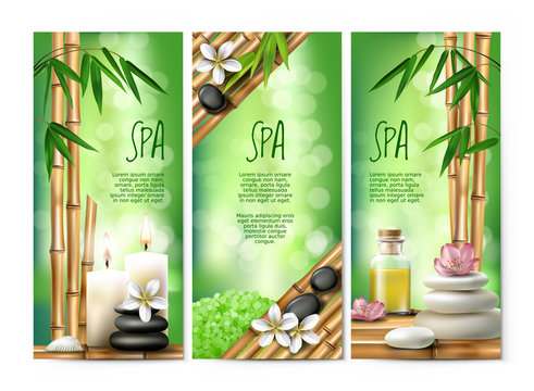 Vector banners in realistic style with aromatic salt, massage oil, candles, schungite on the background of bamboo shoots. Excellent green advertising posters for the spa salon.