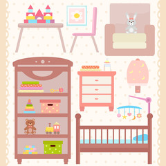 Baby room furniture icon set. Nursery  interior. Flat design. Vector illustration.