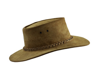 6e4c3a473f0 Brown leather cowboy hat isolated. Side view.
