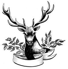 Deer with oak branches and banner. Retro styled ink drawing