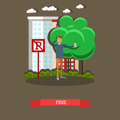 Parking fine concept vector illustration in flat style