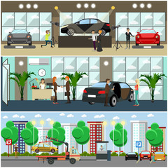 Vector set of cars concept posters, banners in flat style