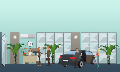 Car shop concept vector illustration in flat style