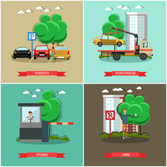 Vector set of car parking square posters in flat style