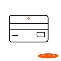 Simple vector linear image of bank card or discount card, flat line icon