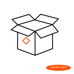 Simple vector linear image of an open cardboard box, a flat line icon