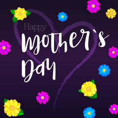 Happy Mother day. Greeting banner for your congratulations cards. Realistic colorfull, bright, spring flowers on dark backdrops. Ready for your design