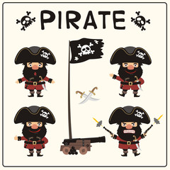 Set isolated pirate in cartoon style. Collection funny pirate in different poses with pistols, sword, ship gun and flag.