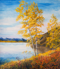 Yellow birch trees by the lake. Landscape with mountains, lake and forest