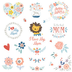 Mother's Day set with typographic design elements. Flowers, branches, wreaths, butterfly and bird, cute little Lion and floral bouquet in vase. Vector illustration.