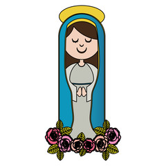 white background of colorful christian virgin and ornament of pink roses vector illustration