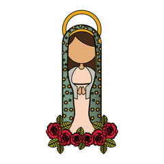 white background of colorful faceless virgin of guadalupe and ornament of roses vector illustration