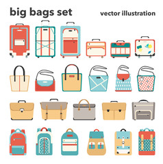 Vector illustration big set of bags. Luggage, women's bags, briefcases and backpacks in flat design style