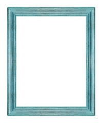 Blue wood picture frame. Isolated on white background