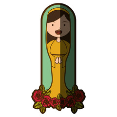 white background of beautiful virgin with ornament of roses with half shadow vector illustration