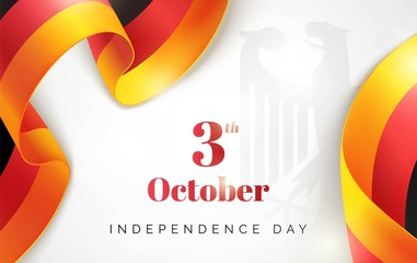Tag der Deutschen Einheit. 3 october.Germany Independence Day greeting card. Celebration background with waving german flag and emblem. Vector illustration