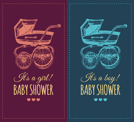 Vector baby shower invitation with pram illustration. Reveal the gender baby gifts invite concept. Poster with buggy.