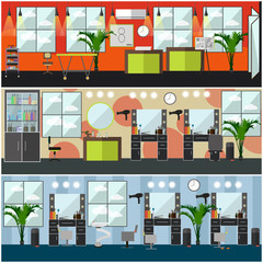 Vector set of barbershop, hair salon, tattoo studio interior posters