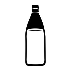 black silhouette with bottle of water vector illustration