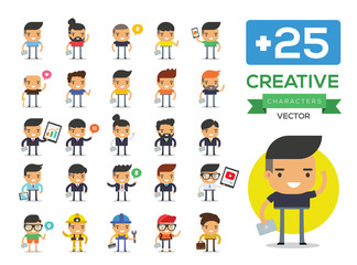 Men Character set. Business people Icons, Cartoon Vector Illustration