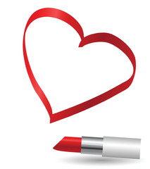 Image of heart painted red lipstick, vector illustration
