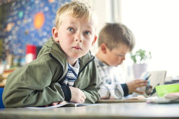 Two boys in classroom