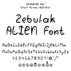 Hand drawn alphabet, written font in style of alien lettering: upper- and lowcase latin letters, numbers, some punctuation and emoticons of aliens. Vector illustration