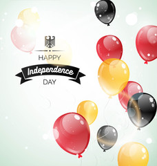3 october.Germany Independence Day greeting card. Celebration background with flying balloons and text. Vector illustration