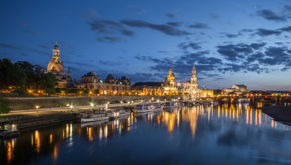 Dresden at night, Germany during twilight blue hour.