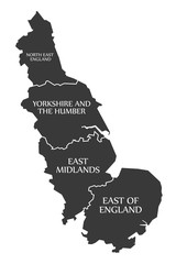 East Coast of England with North East England - Yorkshire - East Midlands - East of England Map UK illustration