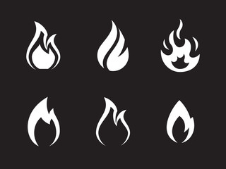 Fire flames icons set
