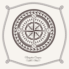 Isolated vintage old marine compass rose icon. Sea or ocean navigation. Retro cartography icon or traveler compass sign, wind rose icon with rope knot frame