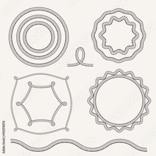Vector Vintage Old Marine Rope Frame Set Sea Or Ocean Borders With