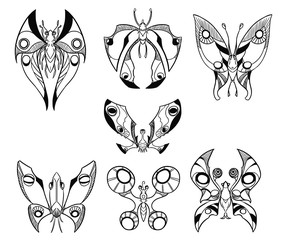 Set of Hand Drawn Cartoon Vector Butterfly Like Creatures in top Down View