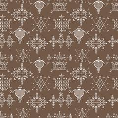 Seamless pattern with Voodoo spirits symbols.