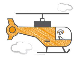 Strichmännchen fliegt Rettungshubschrauber