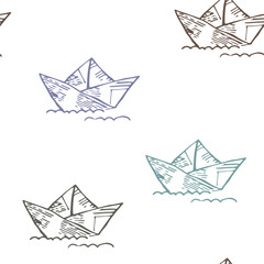 Vector illustration, seamless pattern of colored paper boat on white background.  For fabric, scrapbooking paper or other textile.