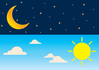 Day and night series time concept with sun, super moon, clouds and stars.