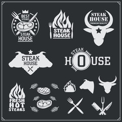 BBQ and grill labels set. Barbecue emblems, badges and design elements. Vector monochrome illustration.