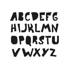 Alphabet. Hand drawn letters, doodle, rough edge. Vector illustration, isolated on white background.
