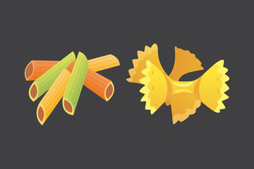 Vector set Italian pasta in cartoon style. Different types and shapes of macaroni with.