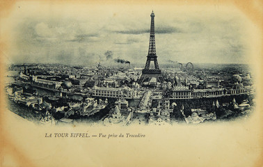 Rare vintage postcard with view on Eiffel Tower from Trocadero in Paris, France, circa 1900