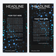 Leaflet flyer layout. Magazine cover corporate identity template. Science and technology design, structure DNA, chemistry, medical background, business and website templates. Vector illustration