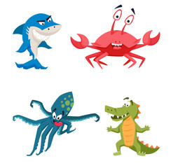 Shark, octopus, crocodile, crab
