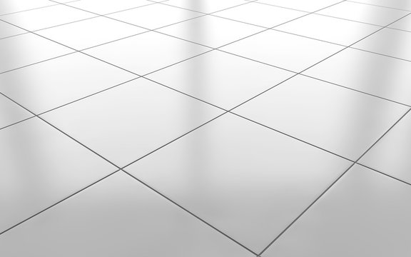White glossy ceramic tile floor background. 3d rendering