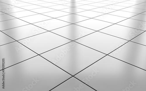 White Glossy Ceramic Tile Floor Background 3d Rendering Stockfotos
